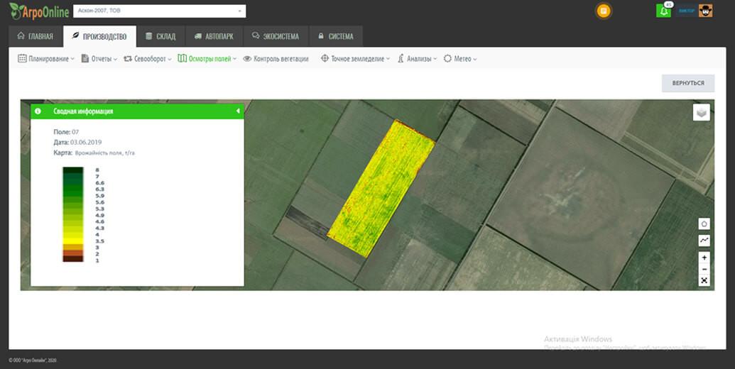 Карта урожайности AgroOnline