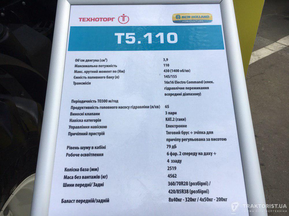 Технічні характеристики New HollandT5.110